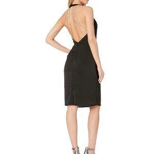 Bebe Halter Rhinestone Open Back Dress Black 8, 12